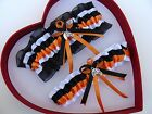 NEW Gorgeous Orange Black White Wedding Garter Equestrian Horse Racing Country