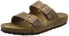 Birkenstock Mens Arizona 2 Strap Oiled Waxy Leather Sandals Tabacco Brown