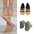 UK! Womens Low Flat Heel Ladies Zip Back Gladiator Sandals Flip Flops Shoes Size
