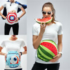 Maternity White Tee Casual Tops 3D Printing Watermelon Pregnant Woman