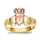 14k Rose and Yellow Gold Polished Claddagh Ring - 10mm