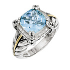 925 Silver & 14k Yellow Gold Braided Double Prong Blue Topaz and Diamond Ring