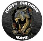 Dinosaur Jurrasic Personalised Edible Icing Cake Topper and Ribbon