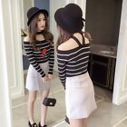Lady Korean Striped Embroidery Slim Slimming Shirt Casual Pullover Blouse Top
