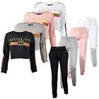 Women's Ladies Guilty Side Strip 2 Piece Crop Set Tracksuit Casual Lounge Set