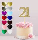 21ST HAPPY BIRTHDAY, GLITTER CAKE CARD TOPPER, VARIOUS COLOURS