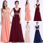 Ever Pretty Long Evening Gown Formal V-neck Navy Blue Bridesmaid Dresses 08697