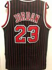 Michael Jordan #23 Chicago Bulls Champion Pinstripe Black Stitched Jersey