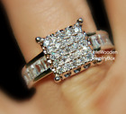 3ct Estate Diamond cut Lab White Sapphire Sterling Silver Womens Engagement Ring