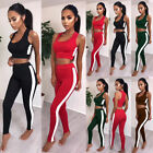 UK Womens Yoga Workout Gym Vests+Pants Set Leggings Fitness Sports Wear Set Suit