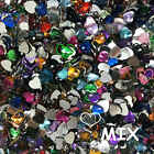 Love Heart Flat Back Crystal Beads 8/10/12mm Resin Rhinestone Gems Mosaic Craft