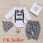 Cute Newborn Infant Baby Boys Gentleman Outfit Clothes Romper Tops+Pants+Hat Set