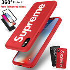 iPhone X 7 8 6S Plus Supreme Case 360 Full Protect Shockproof + Tempered Glass