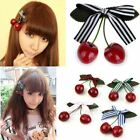 SUPER CUTE 90'S INSPIRED RIBBON BOW CHERRY CHARM HAIR BARRET
