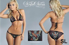 SINFUL by AFFLICTION Womens Bikini Top Bottom Set VEGAS Rhinestones BLACK $96