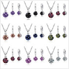 Cubic Zircon Wedding Engagement Jewelry Sets CZ Necklace Earrings for Brides image