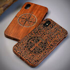 100% Natural carving Original hand polish Wooden Case For iPhone 6 7 8 Plus 10 X