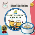 MINIONS EDIBLE ROUND BIRTHDAY CAKE TOPPER DECORATION PERSONALISED