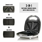 OVENTE GPI 3-in-1Electric Sandwich Maker w 3 Switchable Non-Stick Waffle Plates