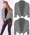 Celeb's inspired Women's Ladies Long Sleeves Stripe Waterfall Blazer UK S-XXL