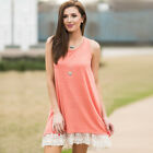 Summer Women Vintage Sleeveless Lace Up Casual Party Evening Cocktail Dress