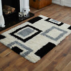Ivory Black Small X Large Sale Modern Quality Thick 5cm Box Geometric Shaggy Rug