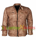 MEN'S STYLISH QUILTED BROWN VINTAGE SLIM FIT HIGH QUALITY GENUINE LEATHER JACKET