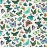 Fat Quarter 100% Cotton Fabric Nutex Vibrant Fancy Cream BUTTERFLIES Insects