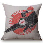 Motorcycle Style Printing Cotton Decorative Cushion Cover Seat Waist Pillow Case