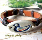Men Women Cute Little Baby Duck Enamel Fashion Leather Hemp Bracelet Wristband