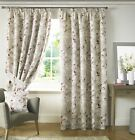 TRAILING FLORAL FLOWERS RED WHITE LINED PENCIL PLEAT CURTAINS *9 SIZES*