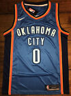 NEW Russell Westbrook 0 Oklahoma City Thunder Blue Mens Basketball Jersey S XXL