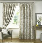 TRAILING FLORAL FLOWERS DIJON YELLOW WHITE LINED PENCIL PLEAT CURTAINS 9 SIZES