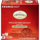 Twinings English Breakfast DECAF Tea 18 to 90 Keurig K cups Pick Any Quantity