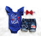 4th of July Clothes Newborn Kid Baby Girl USA Flag Romper+Ripped Short Jeans Set