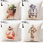 Star Wars Cushion Cover Watercolor Robot Yuda Pillow Covers Cotton Bedroom $4.47 CAD on eBay