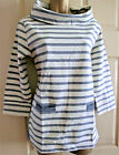 SEASALT ORGANIC COTTON blue & cream striped Sea Harvest Sweatshirt with pockets