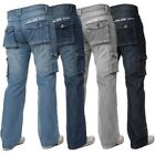 Kruze Designer Mens Cargo Combat Jeans Denim Trousers Pants Big Tall All Waists