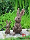 Garden Ornament Rabbit Hare Sculpture Indoor Outdoor Wood Effect 38cm And 20cm