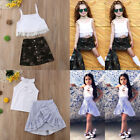 US Baby Kid Girl Summer Outfits Shirt Tops+Camouflage/Stripe Dress Skirt Clothes
