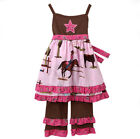AnnLoren Girls Boutique Cowgirl & Horses Dress & Pant Clothing Set 2/3T-7/8