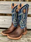 Twisted X Men's Ruff Stock Blue Cognac Elephant Print Square Toe Boots MRS0057
