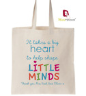 Personalised Thank You Teacher Gift Cotton Tote Bag- Big Heart Design