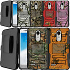 For LG Aristo 2, Zone 4, Fortune 2, Hybrid Shock Heavy Duty Holster Case Camo