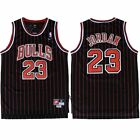 Michael Jordan #23 Chicago Bulls Men's Black Stripe Retro Throwback Jersey on eBay