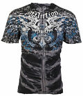 AFFLICTION Mens T-Shirt BURN Skulls BLACK SPINE WASH Motorcycle Biker UFC $63 image