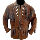 Mens Cowboy Brown Western Wear Leather Jacket Fringed Scully Suede Jacket