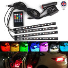 4x 12led Rgb Led Neon Strip Lights Music Remote Control Car Interior Footwell Uk