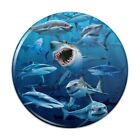 Shark Infested Waters Great White Pinback Button Pin Badge