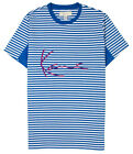 KARL KANI TRAP RUGBY T-SHIRT OCEAN STRIPE EMBROIDERED TEE MENS 90s FASHION image
